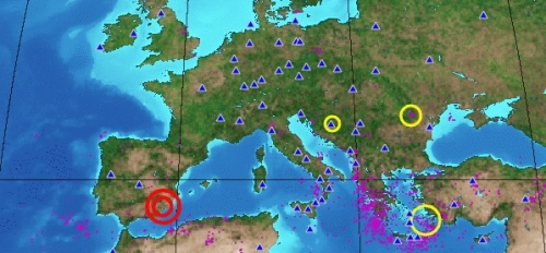 Mapa sismológico del miércoles 11 de mayo de 2011 en la zona del Mediterráneo