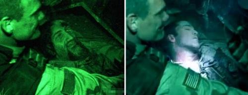 """Montaje del film """"Black Hawk Derribado"""" con la cara de Bin Laden"""
