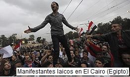 Manifestantes en El Cairo Egipto