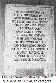 Placa en El Pilar por el milagro